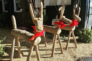 Love Street reindeer yard art